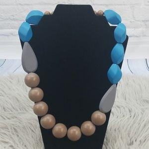 David Aubrey Chunky Blue Brown Wood Bead Necklace